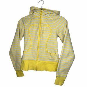 Lululemon grey/yellow striped scuba hoodie size 4